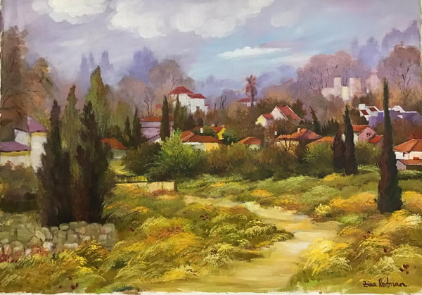 "Zina Roitman- Original Oil on Canvas ""Village in the Country"""
