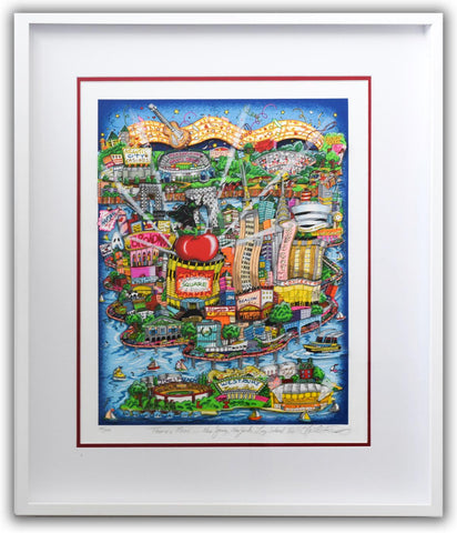 "Charles Fazzino- 3D Construction Silkscreen Serigraph ""There's Music... New Jersey, New York, Long Island Too!"""
