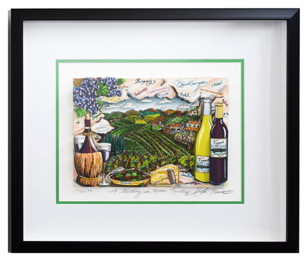 "Charles Fazzino- 3D Construction Silkscreen Serigraph ""A Tasting in Wine Country"""