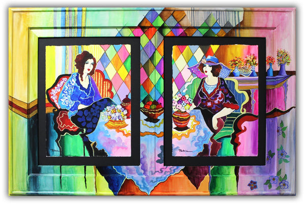 "Patricia Govezensky- Original Watercolors with Hand Painted Frame ""Johanna & Leonie"""