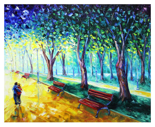 "Svyatoslav Shyrochuk- Original Oil on Canvas ""Hugging in Park"""