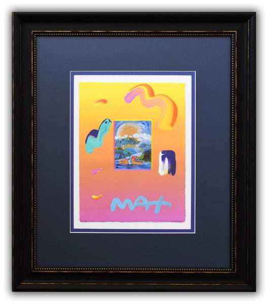 "Peter Max- Original Mixed Media ""Without Borders Ver. III #98"""