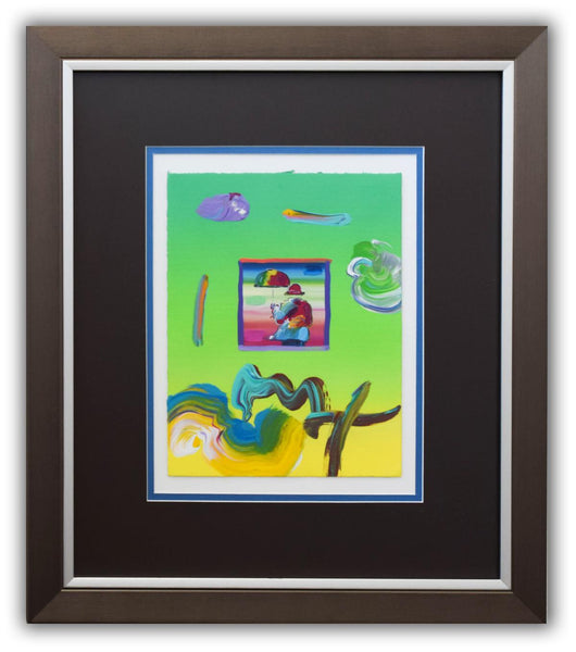 "Peter Max- Original Mixed Media ""Umbrella Man 2007 Ver. I#25"""