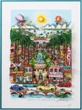 "Charles Fazzino- 3D Construction Silkscreen Serigraph ""Perfectly Palm Beach"""