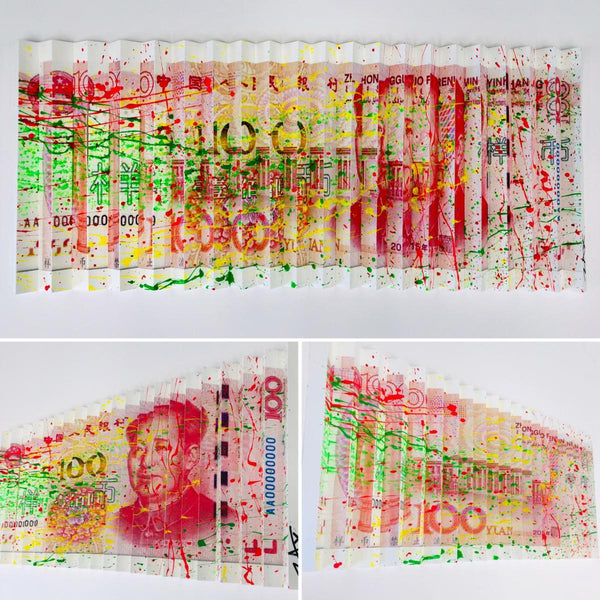"E.M. Zax- One-of-a-kind 3D polymorph mixed media on paper ""100 Yuan"""