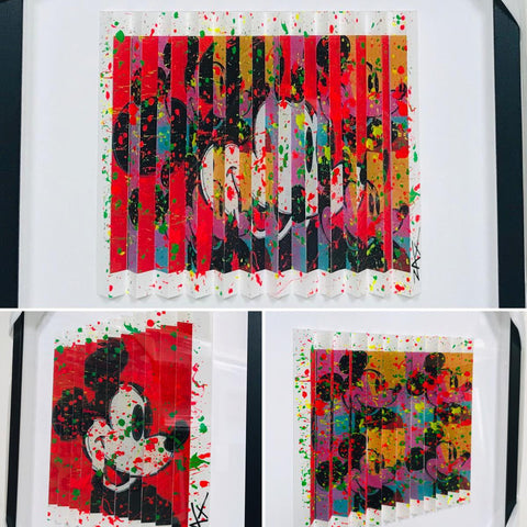 "E.M. Zax- One-of-a-kind 3D polymorph mixed media on paper ""Mickey"""