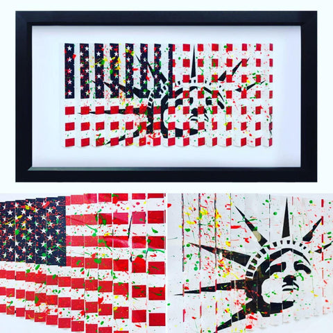 "E.M. Zax- One-of-a-kind 3D polymorph mixed media on paper ""Flag & Liberty"""