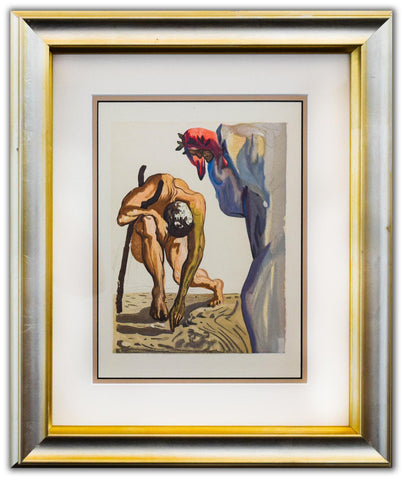 "Salvador Dali- Original Color Woodcut on B.F.K. Rives Paper ""Purgatory 7"""