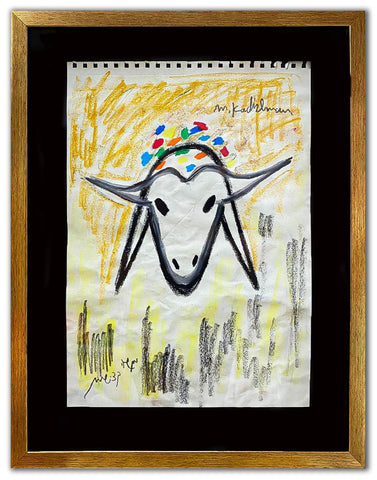 "Menashe Kadishman- Pastel on Paper ""Untitled"""