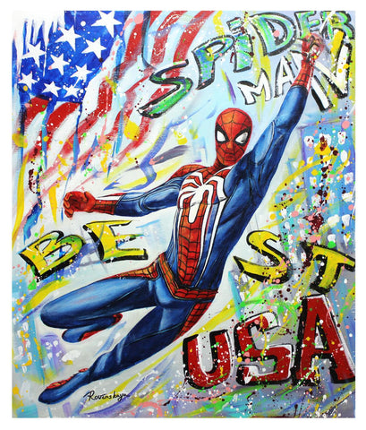"Nastya Rovenskaya- Original Oil on Canvas ""Spider-Man"""