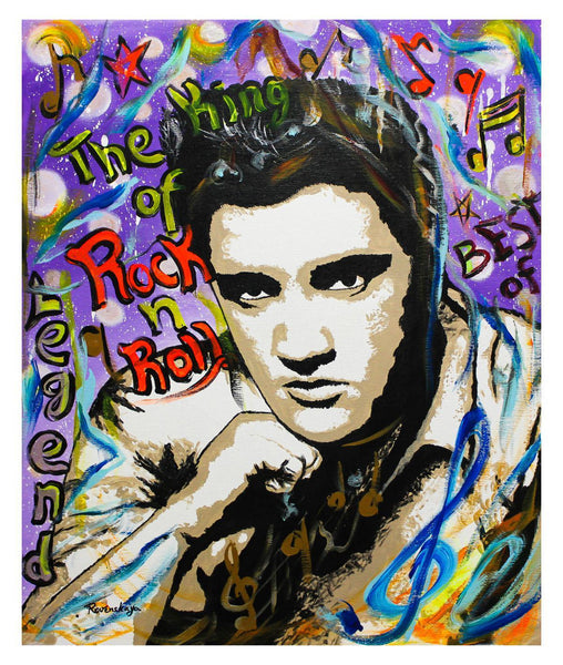 "Nastya Rovenskaya- Original Oil on Canvas ""The King of Rock N Roll"""
