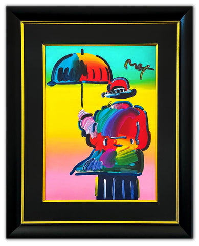 "Peter Max- Original Mixed Media ""Umbrella Man"""