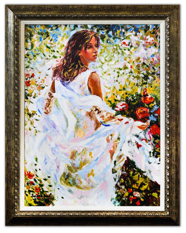 "Igor Semeko- Hand Embellished Giclee on Canvas ""Lady in White Dress"""