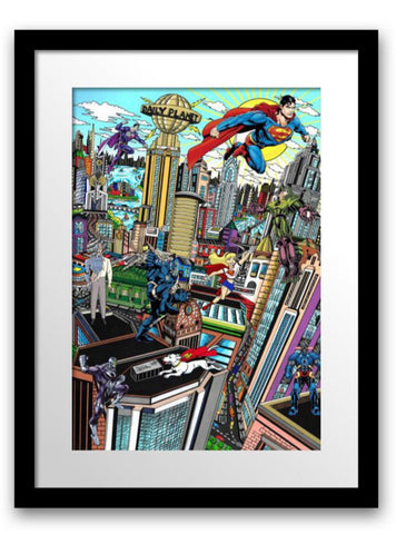 "Charles Fazzino- 3D Construction Silkscreen Serigraph ""SUPERMAN SAVES THE DAY"""