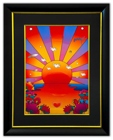 "Peter Max- Original Mixed Media ""Sunrise 2000"""
