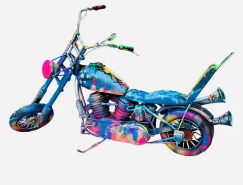 "E.M. Zax- Hand Painted metal sculpture  ""Harley Davidson"""
