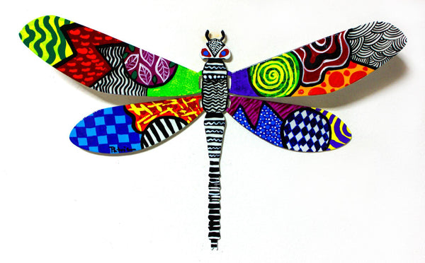 "Patricia Govezensky- Original Painting on Cutout Steel ""Dragonfly LXII"""