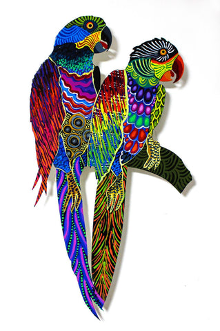 "Patricia Govezensky- Original Painting on Laser Cut Steel ""Two Parrots XX"""