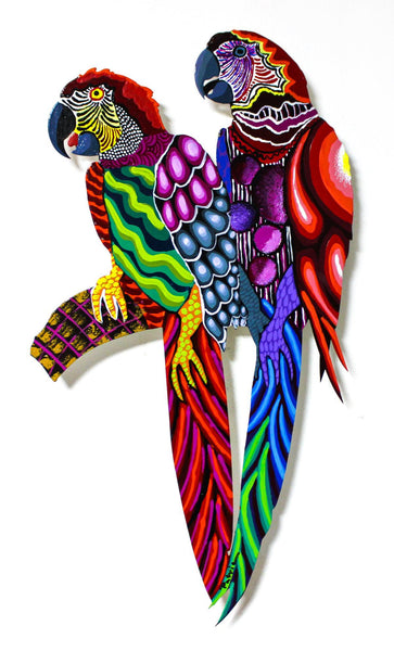 "Patricia Govezensky- Original Painting on Laser Cut Steel ""Two Parrots XXI"""