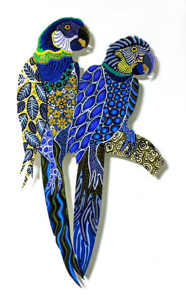 "Patricia Govezensky- Original Painting on Laser Cut Steel ""Two Parrots XXII"""