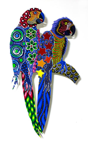 "Patricia Govezensky- Original Painting on Laser Cut Steel ""Two Parrots XXIV"""
