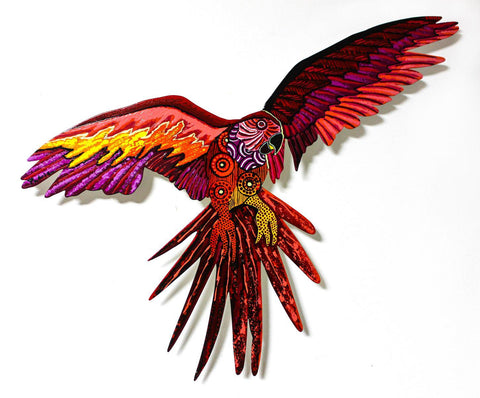 "Patricia Govezensky- Original Painting on Laser Cut Steel ""Macaw XXIV"""