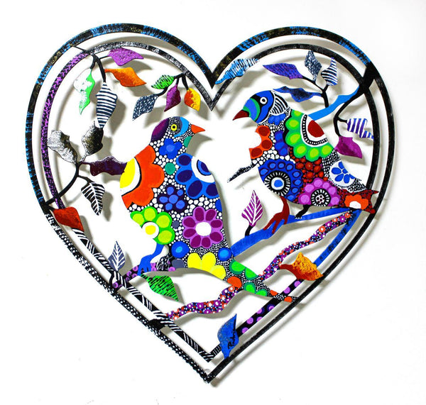 "Patricia Govezensky- Original Painting on Laser Cut Steel ""Love Birds XIX"""