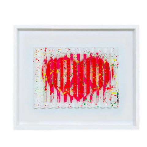 "E.M. Zax- One-of-a-kind 3D polymorph mixed media on paper ""Leave and Love"""