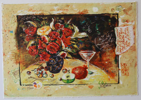 "Sergey Kovrigo- Original Serigraph on Paper ""Wine and Roses"""