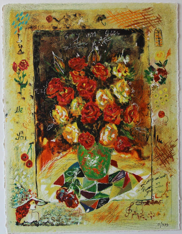 "Sergey Kovrigo- Original Serigraph on Paper ""Red Bouquet"""