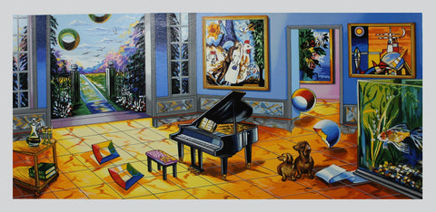 "Alexander Astahov- Original Serigraph on Paper ""BLACK PIANO"""