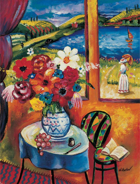 Oleg Nikulov- Flower Vase with Countryside View