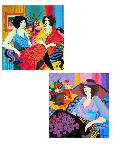 "Patricia Govezensky- Set of 2 Serigraph on Paper ""Noa and Models Talking"""