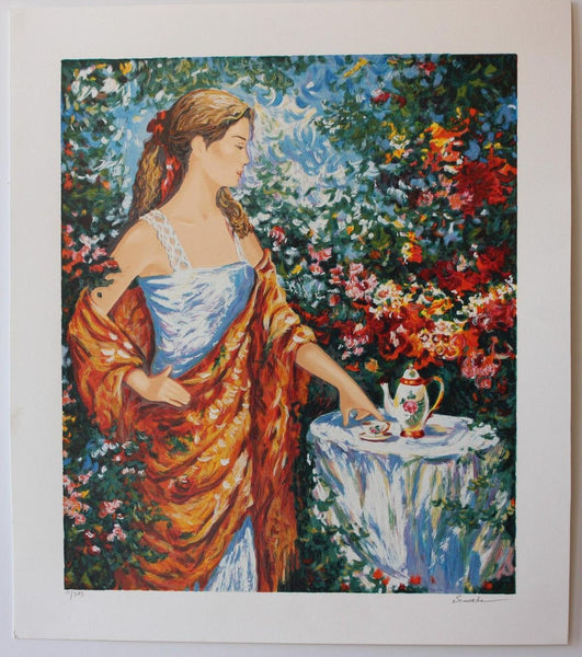 "Igor Semeko- Set of 5 Serigraph on Paper ""Tea Time, Peaceful Moments, After the Rain, Sisters, Beauty by the Seaside"""