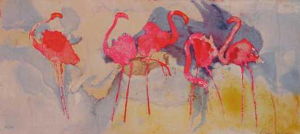 "Edwin Salomon- Original Serigraph ""Flamingo Fantasia"""