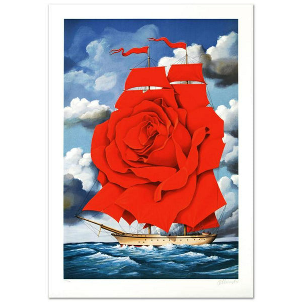 "Rafal Olbinski- Hand Pulled Original Lithograph ""Red Rose Ship"""