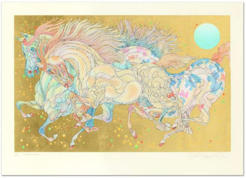"Guillaume Azoulay- Serigraph on paper with hand laid gold leaf ""Stardust"""