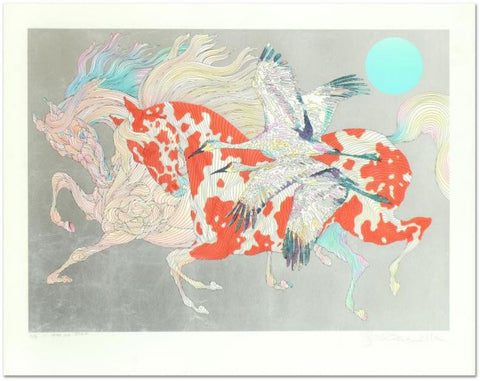 "Guillaume Azoulay- Serigraph with Hand Laid Silver Leaf ""It Takes Two"""