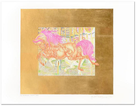 "Guillaume Azoulay- Limited Edition Hand Colored Etching with Hand Laid Gold Leaf ""Manege II"""
