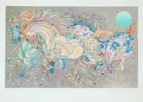 "Guillaume Azoulay- Serigraph on paper with hand laid silver leaf  ""STARDUST"""