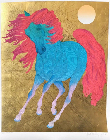 "Guillaume Azoulay- Serigraph on paper with hand laid gold leaf ""MONARQUE"""