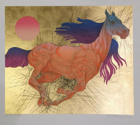 "Guillaume Azoulay- Serigraph on paper with hand laid gold leaf ""VITESSE"""