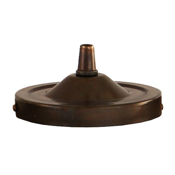 BRASS CEILING ROSE LIGHT FITTING, FLAT ROUND WITH CORD GRIP