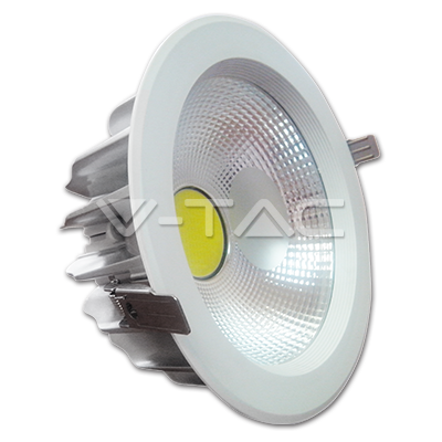 30W LED COB Downlight Reflector White Body - Natural White