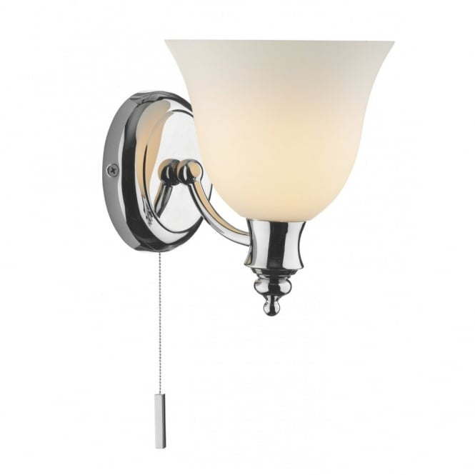 Oboe 1 Light Bathroom Switched Wall Light IP44 Polished Chrome