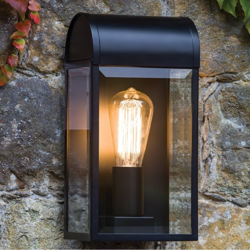 Newbury Outdoor Black And Glass Wall Light