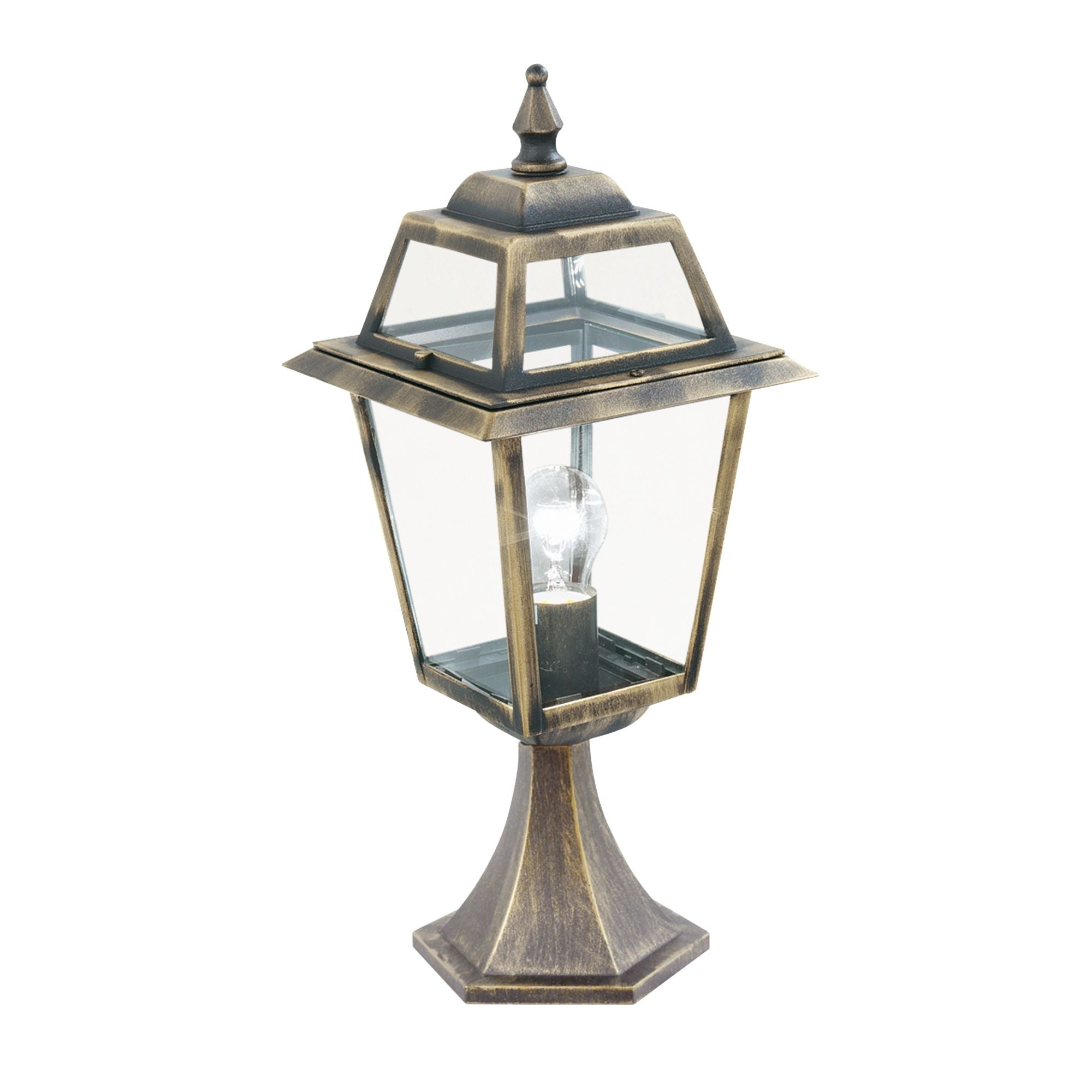 NEW ORLEANS OUTDOOR POST LAMP - SMALL 1 LIGHT BLACK/GOLD