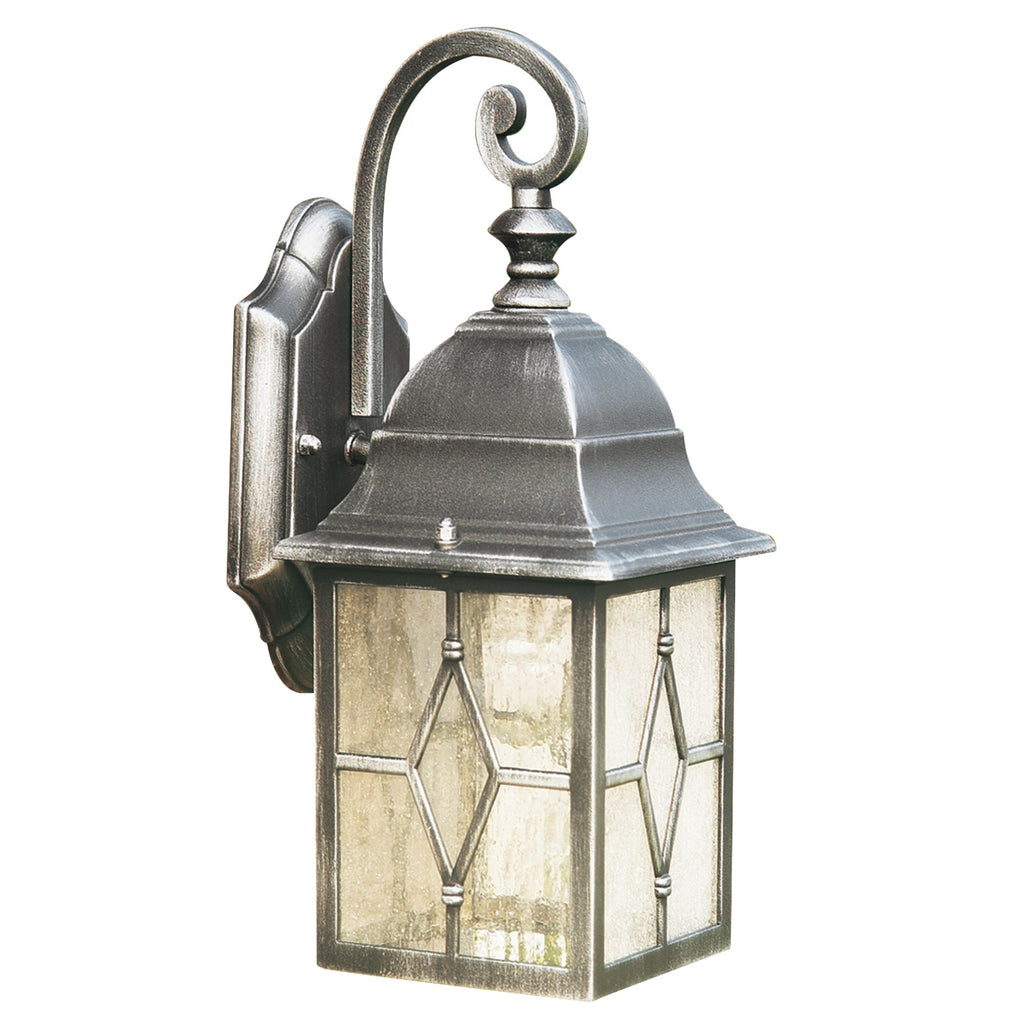 GENOA OUTDOOR WALL LIGHT 1 LIGHT BLACK/SILVER/LEAD GLASS