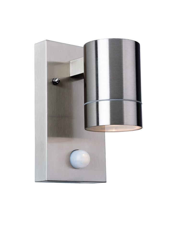 'Colt' IP44 Single Light Outdoor Wall Lamp with PIR Sensor, Stainless Steel Finish