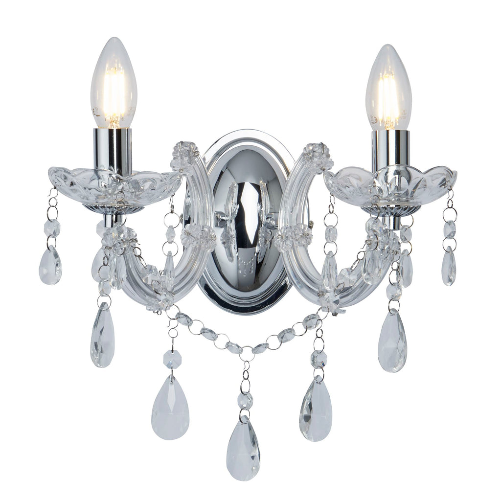 MARIE THERESE  2 LIGHT CRYSTAL CHROME WALL BRACKET